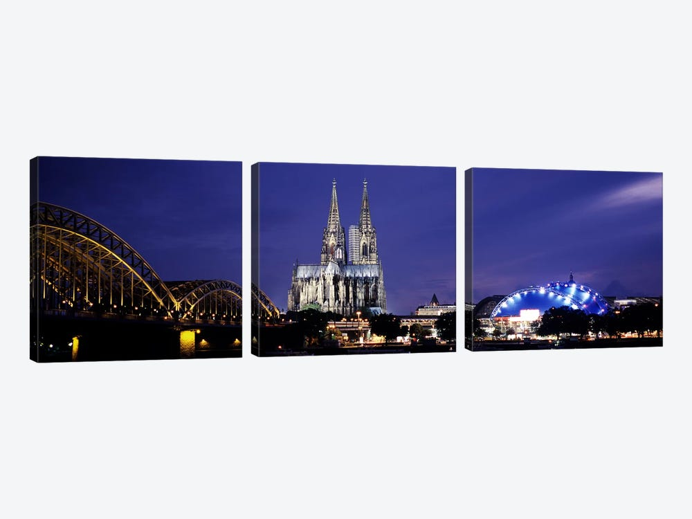 City at duskMusical Dome, Cologne Cathedral, Hohenzollern Bridge, Rhine River, Cologne, North Rhine Westphalia, Germany by Panoramic Images 3-piece Art Print