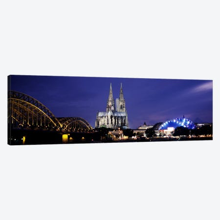 City at duskMusical Dome, Cologne Cathedral, Hohenzollern Bridge, Rhine River, Cologne, North Rhine Westphalia, Germany Canvas Print #PIM8836} by Panoramic Images Canvas Print