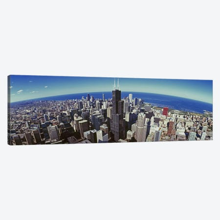 Aerial view of a cityscape with lake in the background, Sears Tower, Lake Michigan, Chicago, Illinois, USA Canvas Print #PIM8838} by Panoramic Images Canvas Art