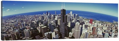 Aerial view of a cityscape with lake in the background, Sears Tower, Lake Michigan, Chicago, Illinois, USA Canvas Print #PIM8838