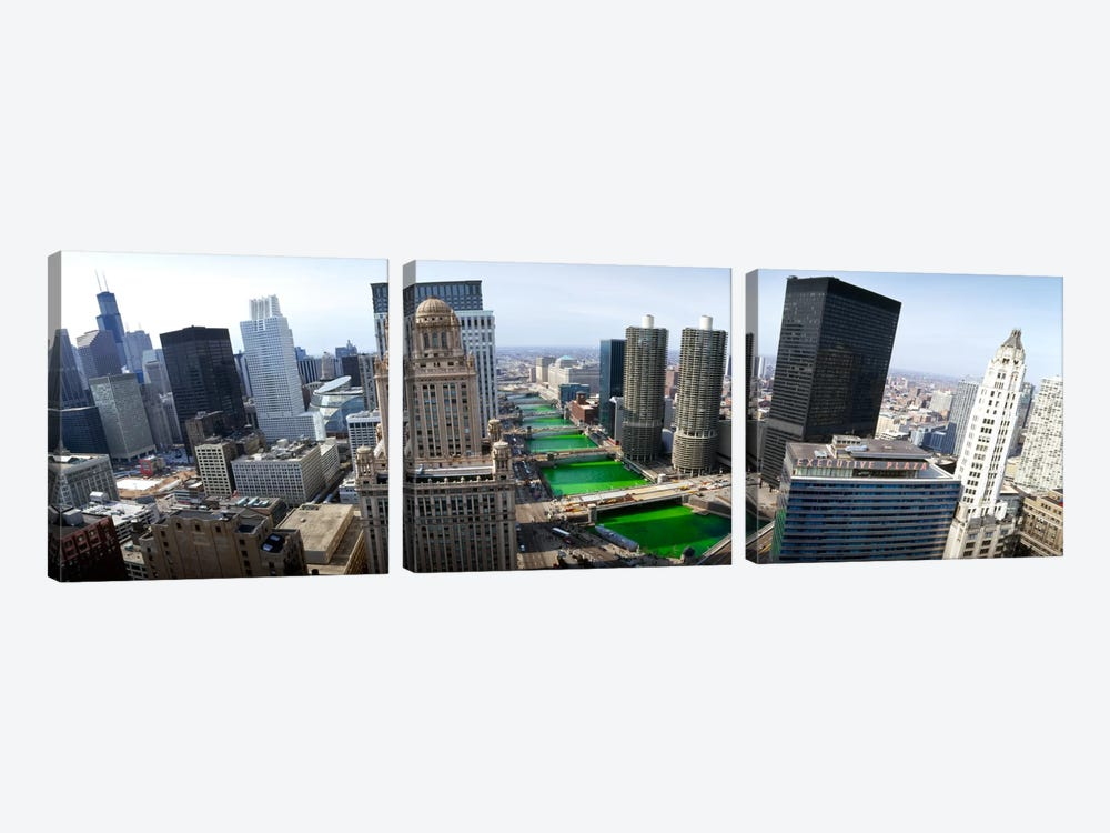 St. Patrick's Day Chicago IL USA by Panoramic Images 3-piece Canvas Art