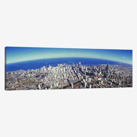 Aerial view of a cityscape with lake in the background, Sears Tower, Lake Michigan, Chicago, Illinois, USA #2 Canvas Print #PIM8840} by Panoramic Images Canvas Art Print