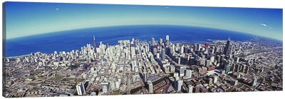 Aerial view of a cityscape with lake in the background, Sears Tower, Lake Michigan, Chicago, Illinois, USA #2 Canvas Print #PIM8840
