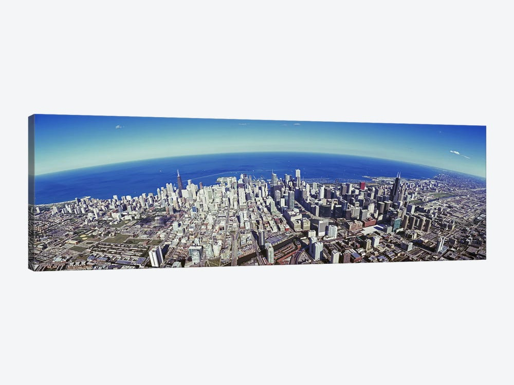 Aerial view of a cityscape with lake in the background, Sears Tower, Lake Michigan, Chicago, Illinois, USA #2 by Panoramic Images 1-piece Canvas Art