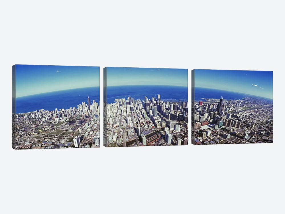 Aerial view of a cityscape with lake in the background, Sears Tower, Lake Michigan, Chicago, Illinois, USA #2 by Panoramic Images 3-piece Canvas Art