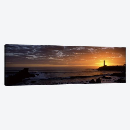 Lighthouse at sunset, Pigeon Point Lighthouse, San Mateo County, California, USA Canvas Print #PIM8842} by Panoramic Images Canvas Art Print