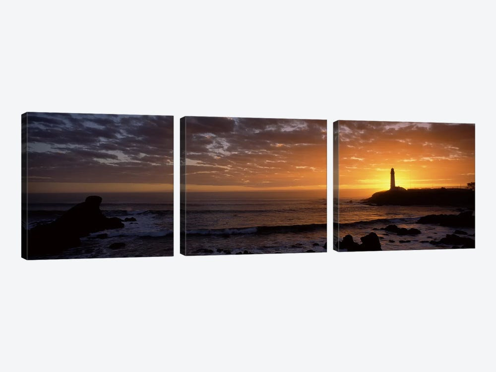 Lighthouse at sunset, Pigeon Point Lighthouse, San Mateo County, California, USA 3-piece Canvas Wall Art