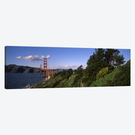 Suspension bridge across the bay, Golden Gate Bridge, San Francisco Bay, San Francisco, California, USA Canvas Print #PIM8845} by Panoramic Images Canvas Artwork