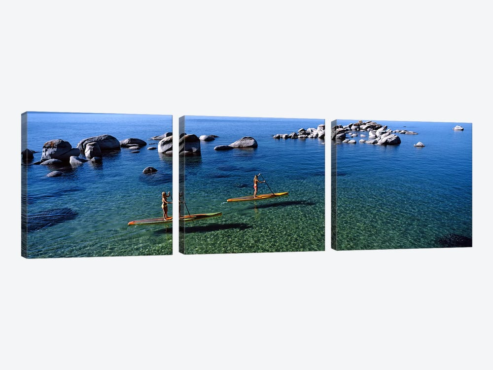 Two women paddle boarding in a lake, Lake Tahoe, California, USA by Panoramic Images 3-piece Canvas Wall Art