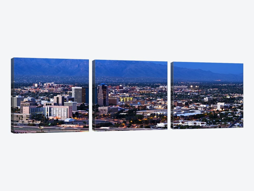 Aerial view of a city, Tucson, Pima County, Arizona, USA 2010 3-piece Canvas Print