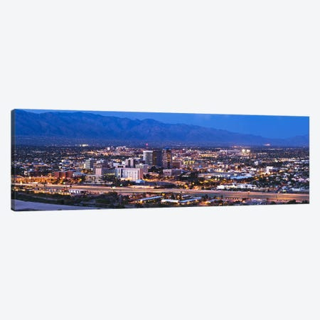 City lit up at dusk, Tucson, Pima County, Arizona, USA 2010 Canvas Print #PIM8850} by Panoramic Images Canvas Wall Art
