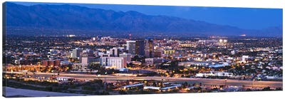 City lit up at dusk, Tucson, Pima County, Arizona, USA 2010 Canvas Art Print