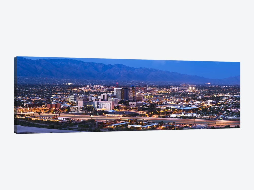 City lit up at dusk, Tucson, Pima County, Arizona, USA 2010 by Panoramic Images 1-piece Canvas Print