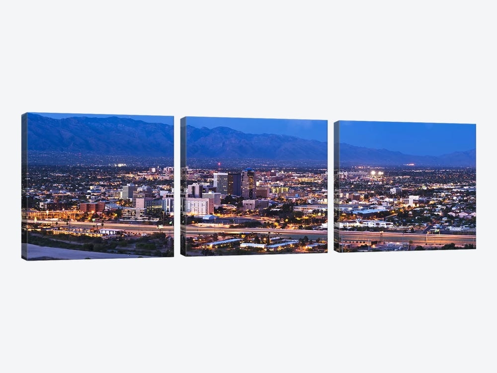 City lit up at dusk, Tucson, Pima County, Arizona, USA 2010 by Panoramic Images 3-piece Canvas Art Print