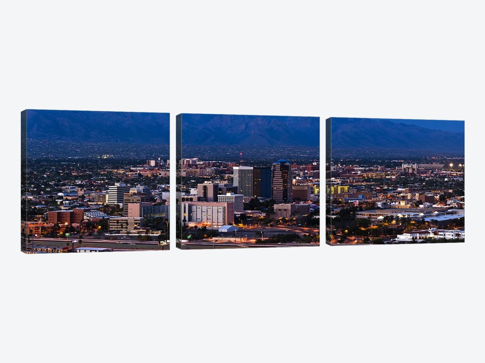 Aerial view of a city, Tucson, Pima County, Arizona, USA 2010 #2 3-piece Canvas Art
