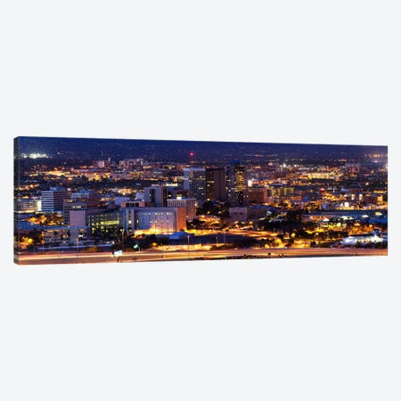 City lit up at night, Tucson, Pima County, Arizona, USA Canvas Print #PIM8852} by Panoramic Images Canvas Art