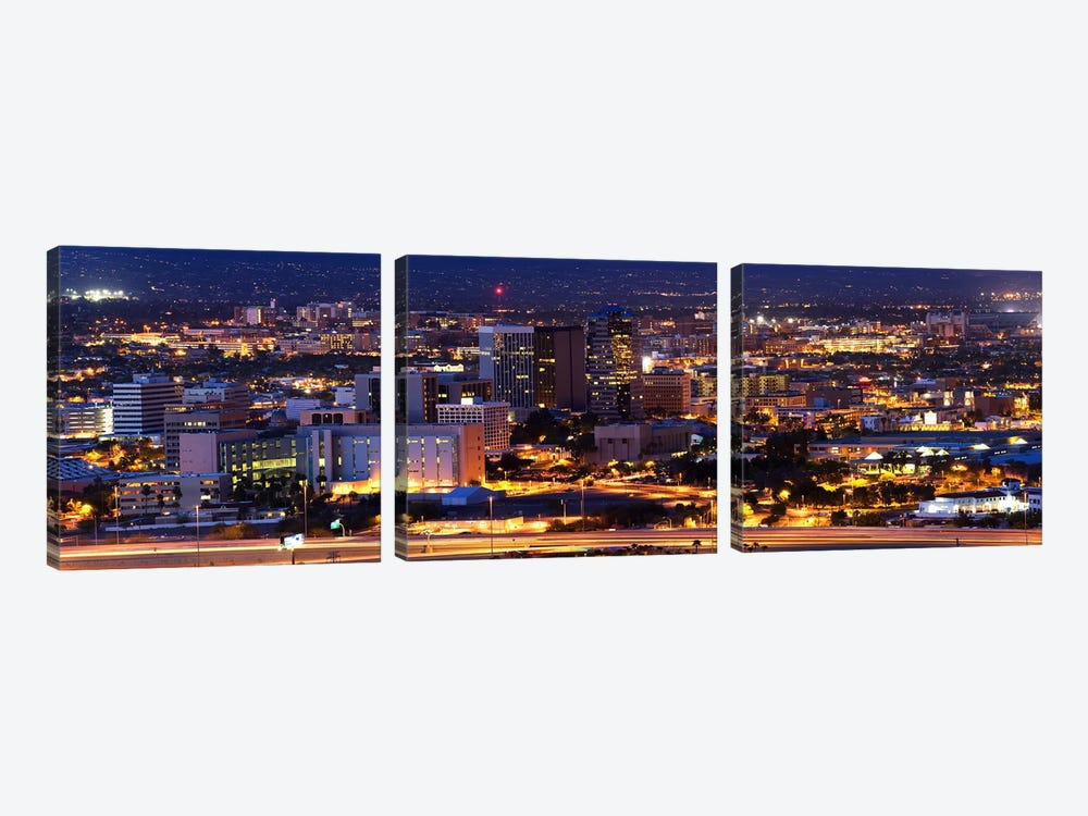City lit up at night, Tucson, Pima County, Arizona, USA by Panoramic Images 3-piece Canvas Print