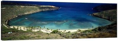 High angle view of a coast, Hanauma Bay, Oahu, Honolulu County, Hawaii, USA Canvas Art Print