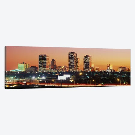 Buildings lit up at dusk, Fort Worth, Texas, USA #2 Canvas Print #PIM8858} by Panoramic Images Canvas Art