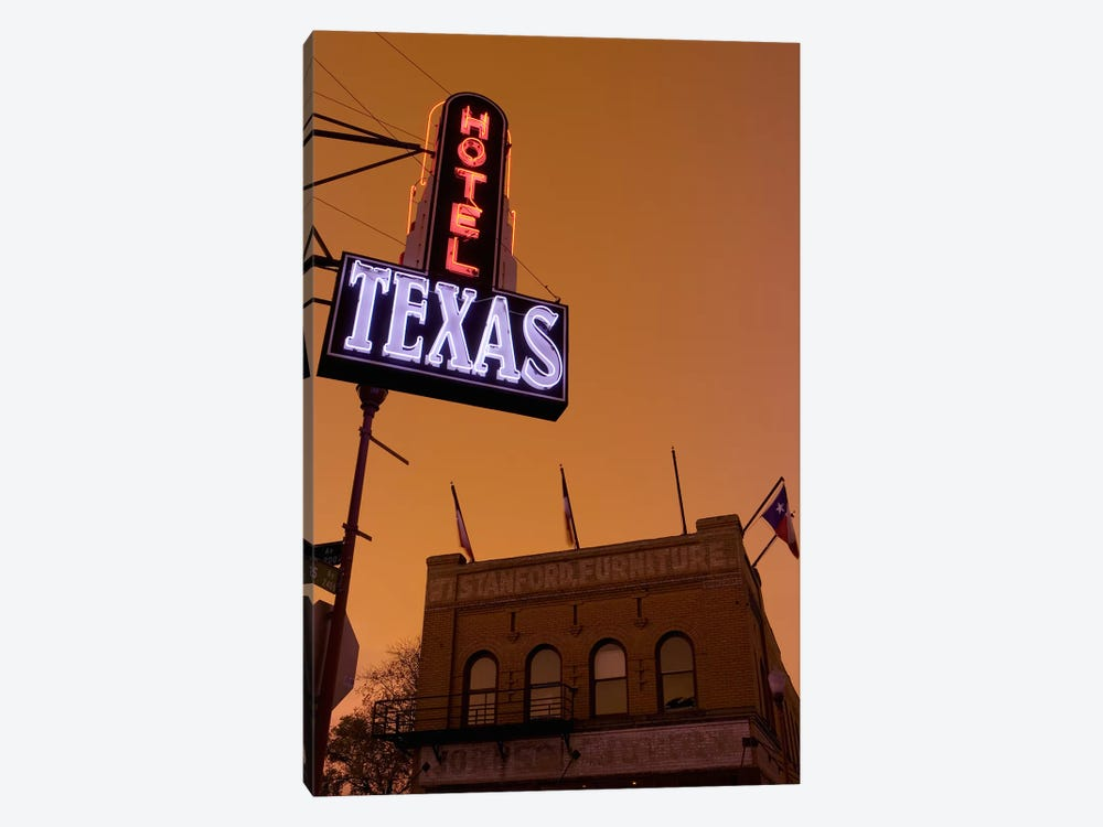 Low angle view of a neon sign of a hotel lit up at dusk, Fort Worth Stockyards, Fort Worth, Texas, USA by Panoramic Images 1-piece Canvas Art