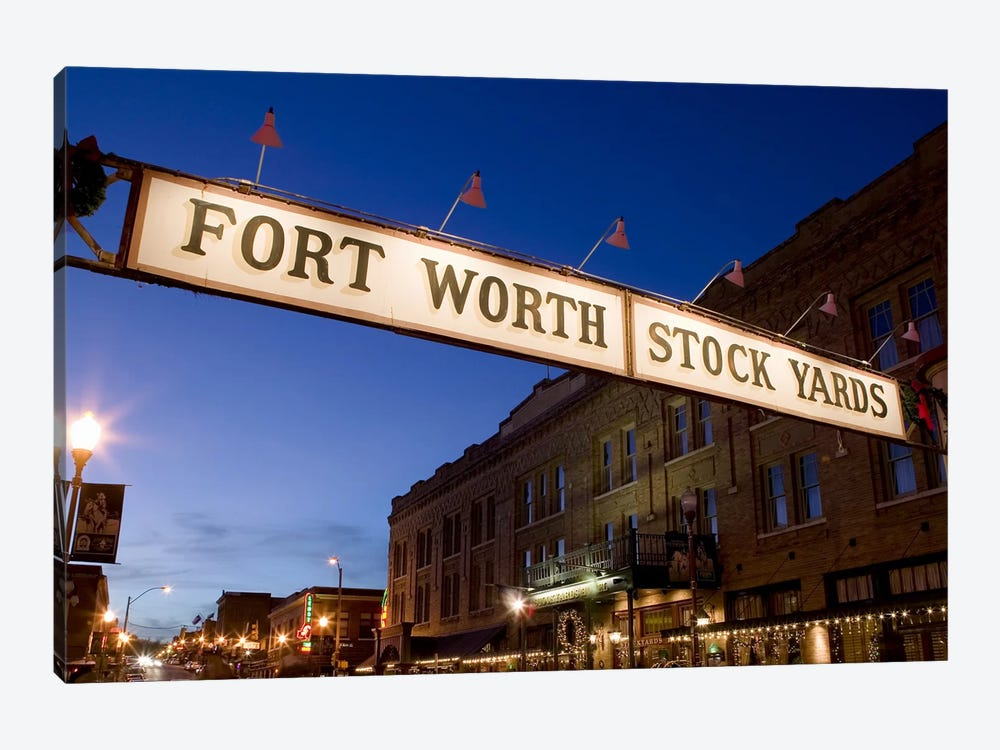 Signboard over a road at dusk, Fort Worth Stockyards, Fort Worth, Texas, USA by Panoramic Images 1-piece Canvas Artwork