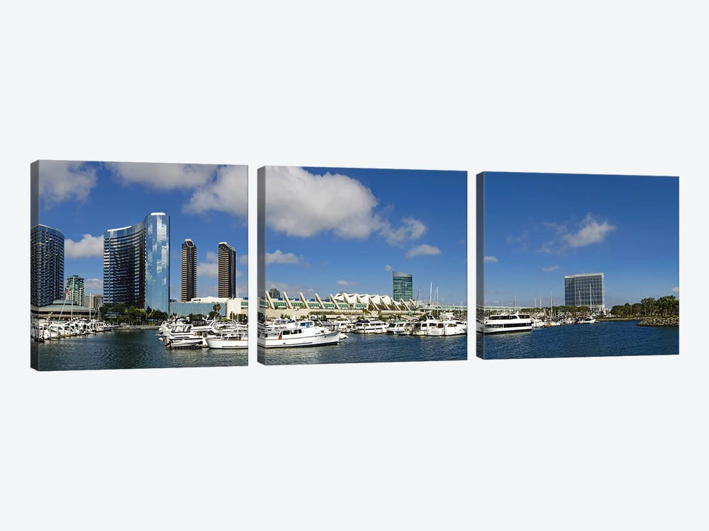 Buildings in a city, San Diego Convention Center, San Diego, Marina District, San Diego County, California, USA by Panoramic Images 3-piece Canvas Wall Art
