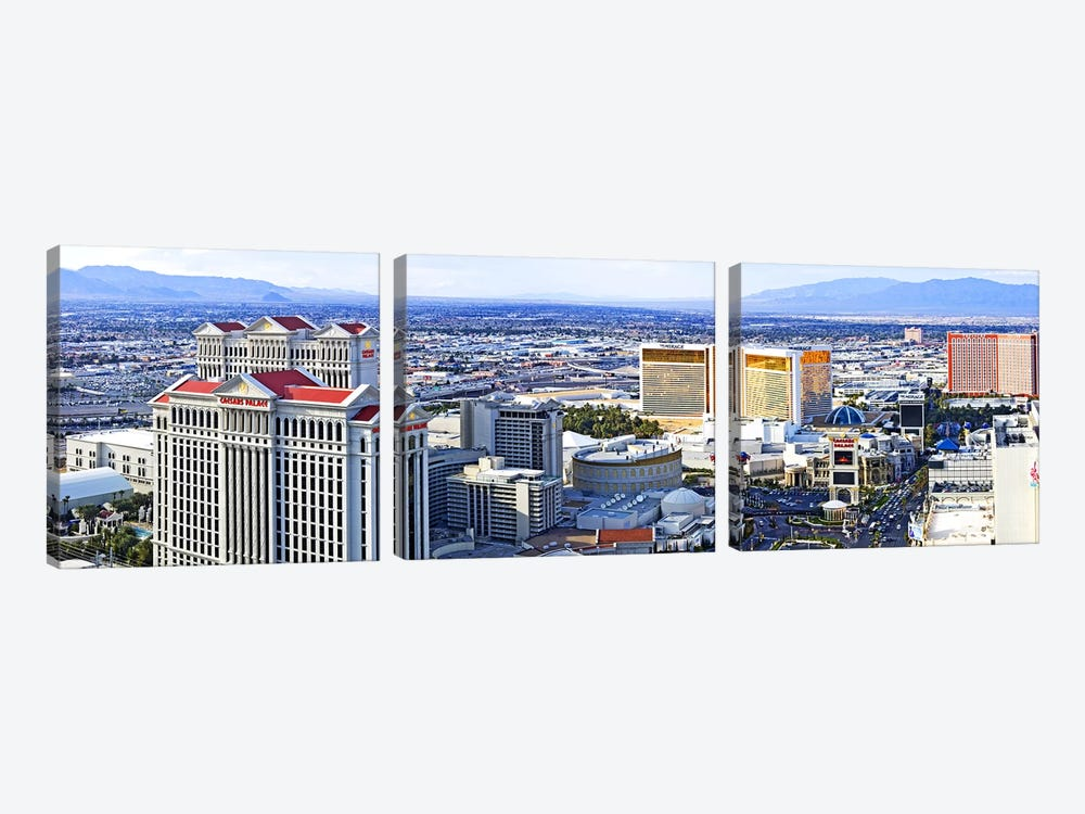 The Strip, Las Vegas, Clark County, Nevada, USA by Panoramic Images 3-piece Canvas Art Print