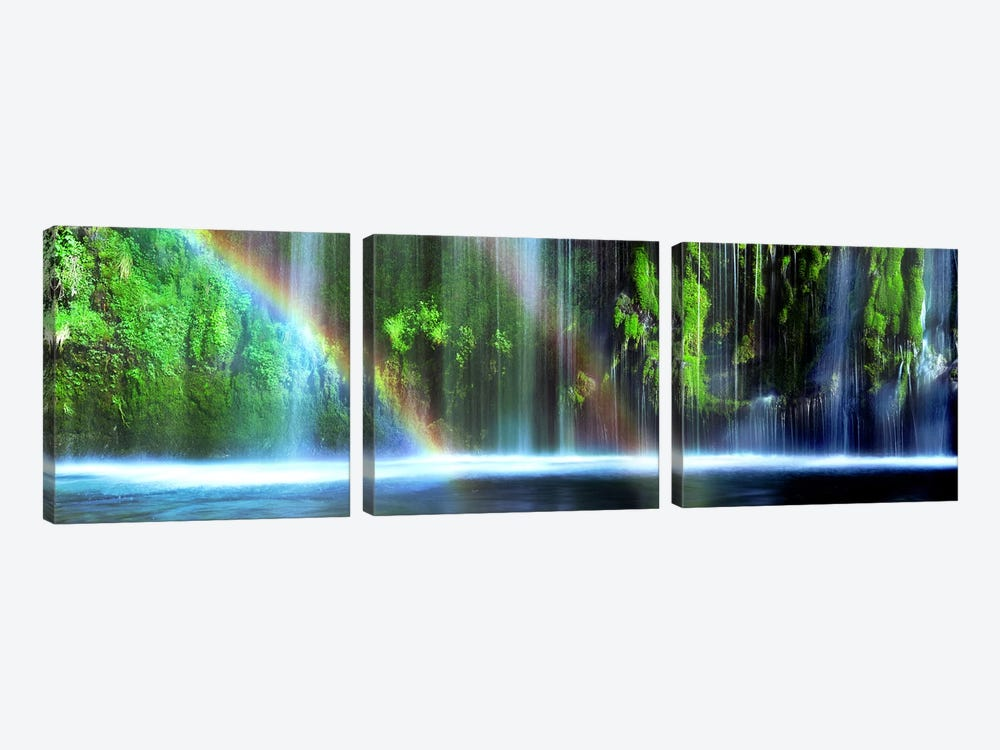 Double Rainbow, Mossbrae Falls, Dunsmuir, Siskiyou County, California, USA by Panoramic Images 3-piece Canvas Wall Art