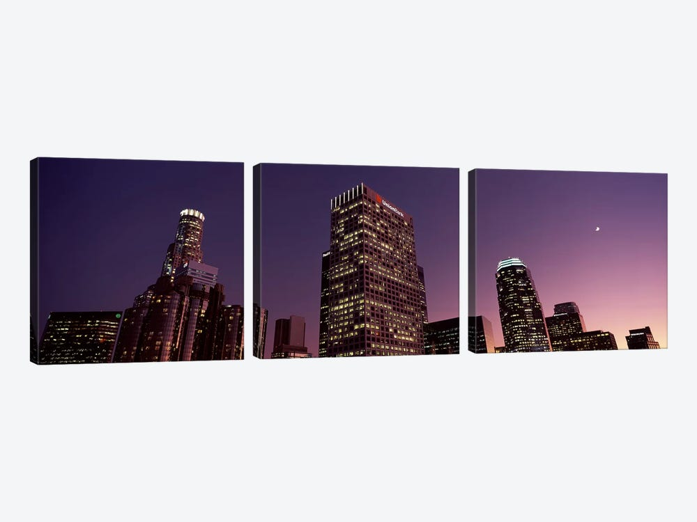 Skyscrapers in a city, City of Los Angeles, California, USA 2010 by Panoramic Images 3-piece Canvas Artwork