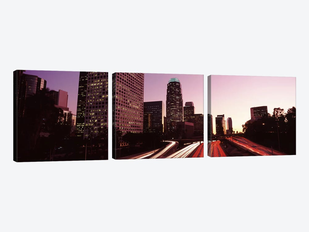Skyscrapers in a city, City of Los Angeles, California, USA 2010 #3 by Panoramic Images 3-piece Canvas Wall Art