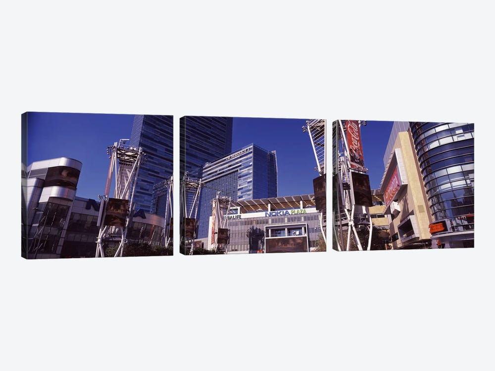 Skyscrapers in a city, Nokia Plaza, City of Los Angeles, California, USA by Panoramic Images 3-piece Canvas Art Print