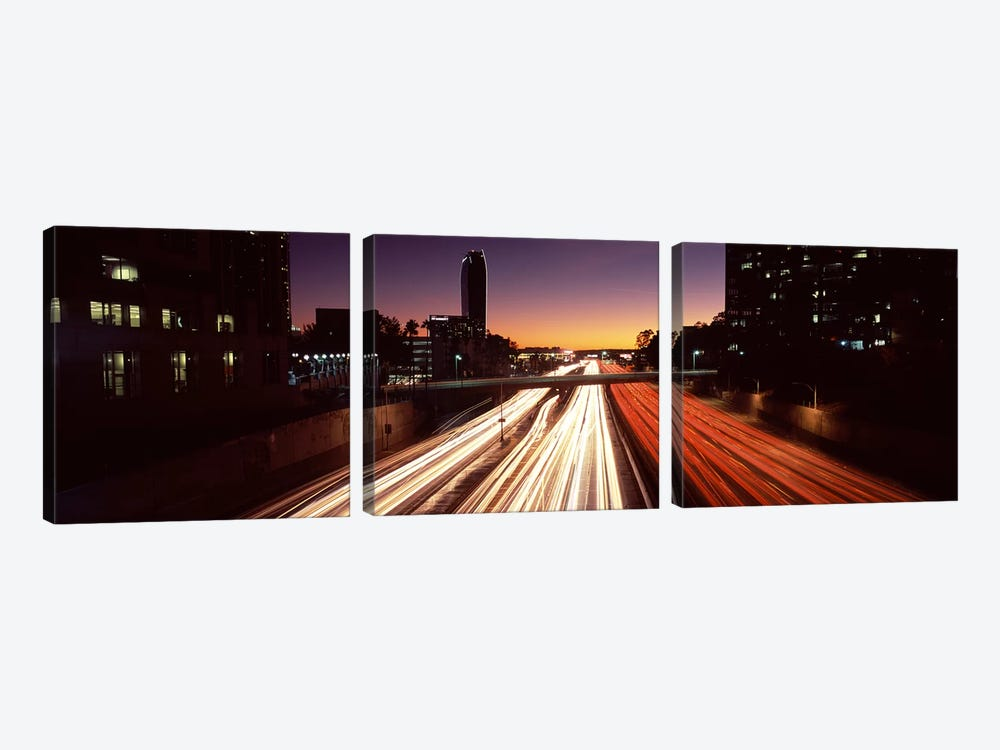 Traffic on the roadCity of Los Angeles, California, USA by Panoramic Images 3-piece Canvas Art