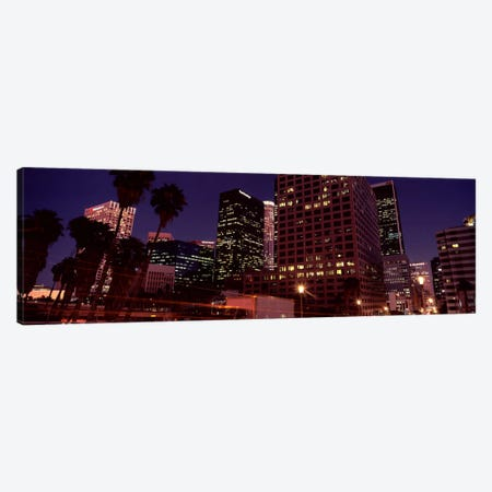 Buildings lit up at night, City of Los Angeles, California, USA Canvas Print #PIM8887} by Panoramic Images Canvas Art