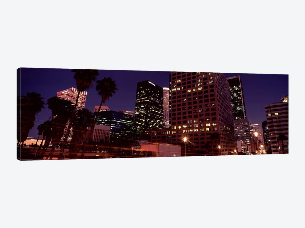Buildings lit up at night, City of Los Angeles, California, USA by Panoramic Images 1-piece Canvas Art Print