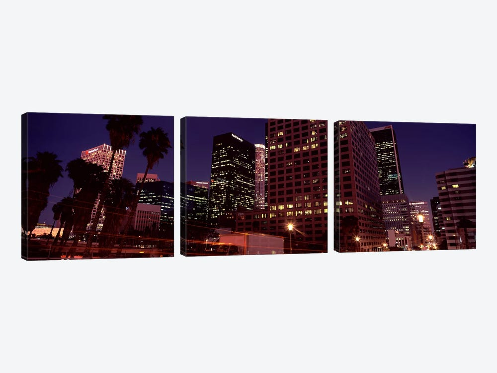 Buildings lit up at night, City of Los Angeles, California, USA by Panoramic Images 3-piece Canvas Art Print