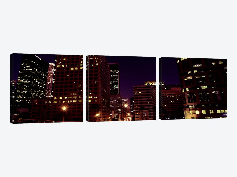 Buildings lit up at night, City of Los Angeles, California, USA #2 3-piece Art Print