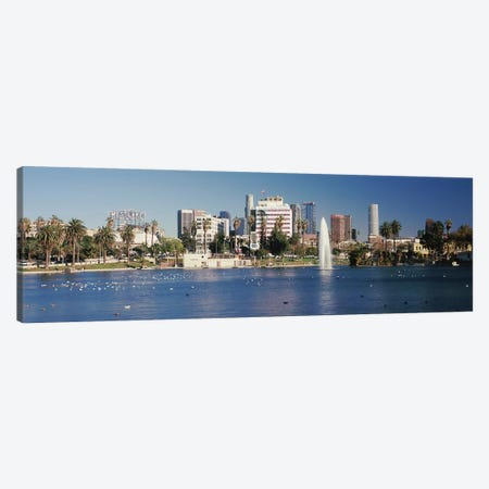 Fountain in front of buildings, Macarthur Park, Westlake, City of Los Angeles, California, USA 2010 Canvas Print #PIM8892} by Panoramic Images Canvas Wall Art