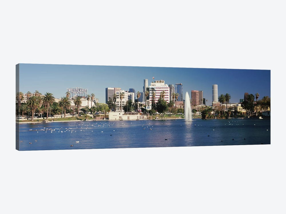 Fountain in front of buildings, Macarthur Park, Westlake, City of Los Angeles, California, USA 2010 by Panoramic Images 1-piece Canvas Print
