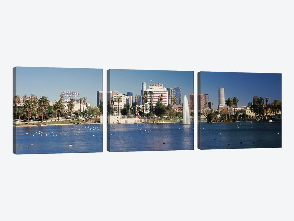 Fountain in front of buildings, Macarthur Park, Westlake, City of Los Angeles, California, USA 2010 by Panoramic Images 3-piece Art Print