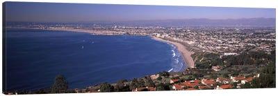 Aerial view of a city at coast, Santa Monica Beach, Beverly Hills, Los Angeles County, California, USA Canvas Art Print