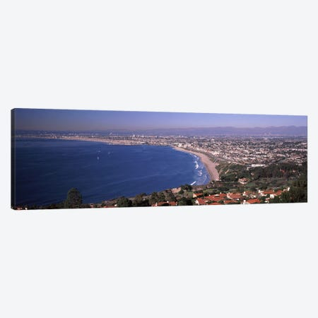 Aerial view of a city at coast, Santa Monica Beach, Beverly Hills, Los Angeles County, California, USA Canvas Print #PIM8893} by Panoramic Images Canvas Artwork
