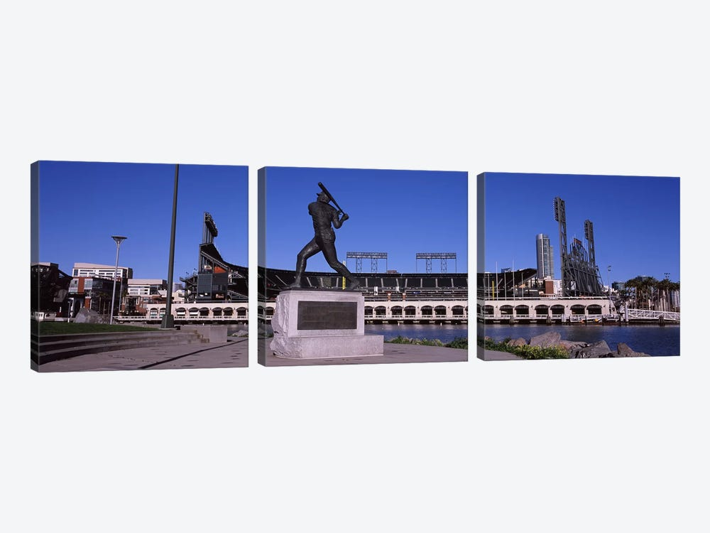 Willie Mays Statue, AT&T Park, 24 Willie Mays Plaza, San Francisco, California, USA by Panoramic Images 3-piece Art Print