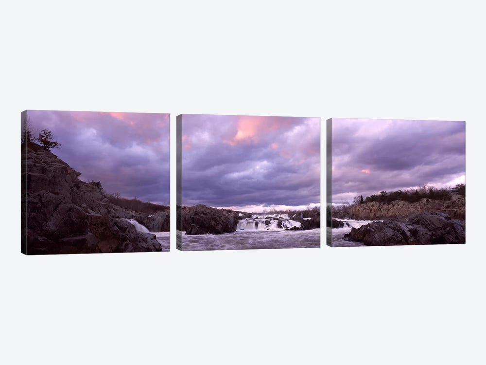 Water falling into a river, Great Falls National Park, Potomac River, Washington DC, Virginia, USA by Panoramic Images 3-piece Canvas Wall Art