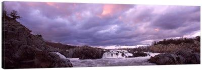 Water falling into a river, Great Falls National Park, Potomac River, Washington DC, Virginia, USA Canvas Art Print