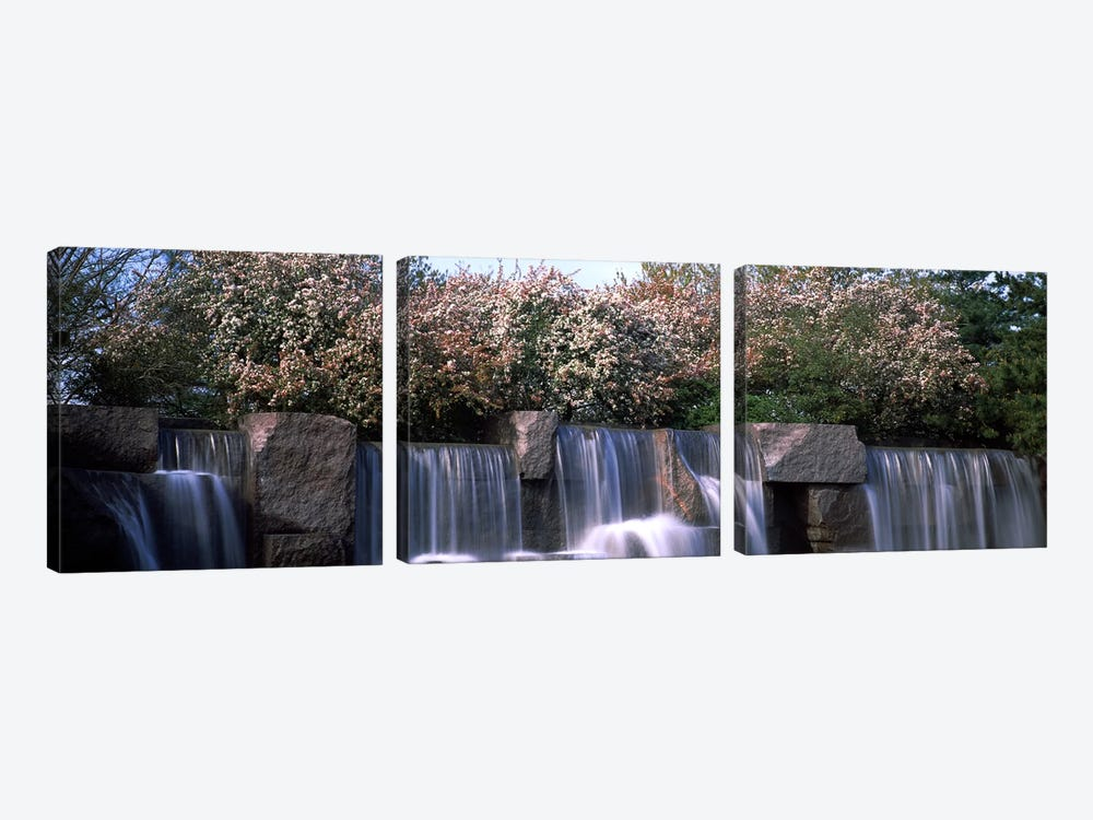 Waterfall, Franklin Delano Roosevelt Memorial, Washington DC, USA by Panoramic Images 3-piece Canvas Art