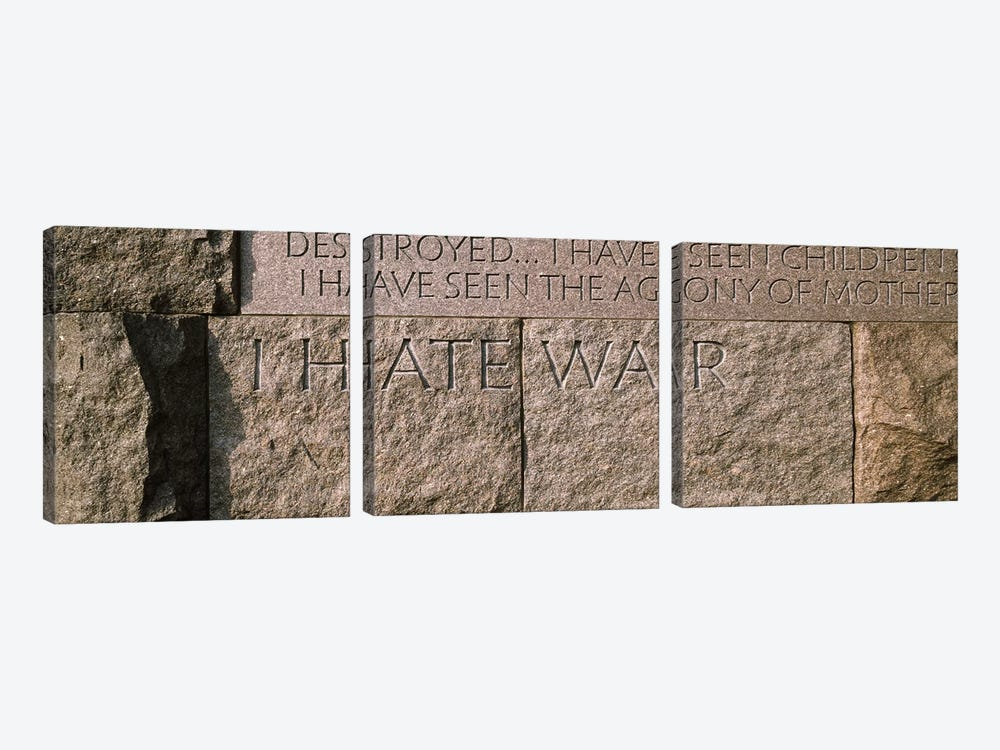 Text engraved on stones at a memorial, Franklin Delano Roosevelt Memorial, Washington DC, USA by Panoramic Images 3-piece Art Print