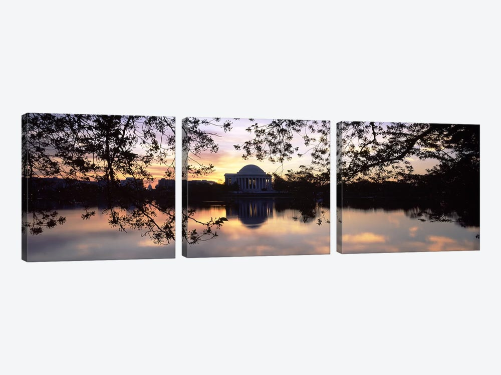 Memorial at the waterfront, Jefferson Memorial, Tidal Basin, Potomac River, Washington DC, USA #2 by Panoramic Images 3-piece Canvas Artwork
