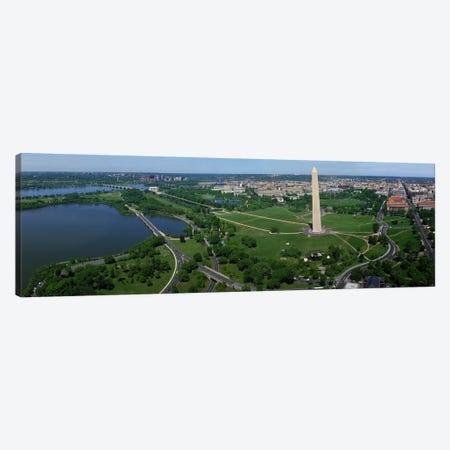 Aerial view of a monument, Tidal Basin, Constitution Avenue, Washington DC, USA Canvas Print #PIM8902} by Panoramic Images Canvas Art