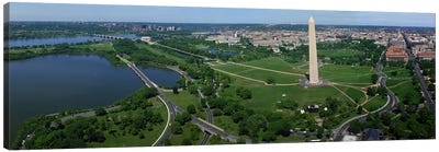 Aerial view of a monument, Tidal Basin, Constitution Avenue, Washington DC, USA Canvas Print #PIM8902
