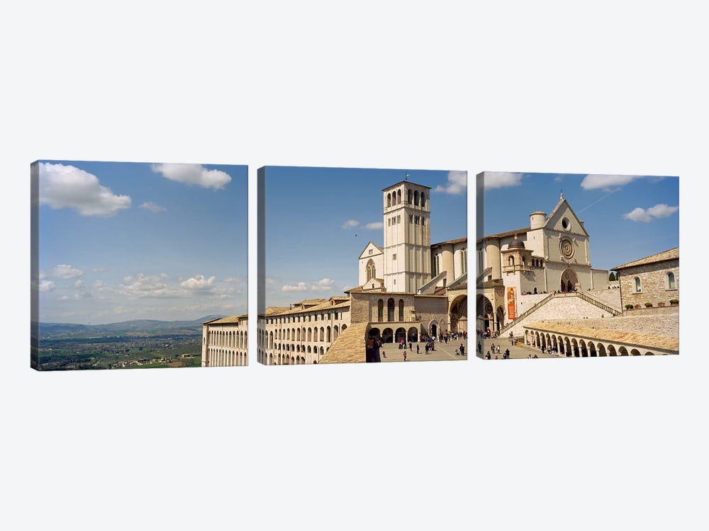Tourists at a church, Basilica of San Francisco, Assisi, Perugia Province, Umbria, Italy by Panoramic Images 3-piece Canvas Print
